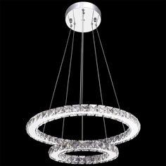 LED-pendel/hængelampe med dobbelt ring, krystal, 23,6 W[6/9]