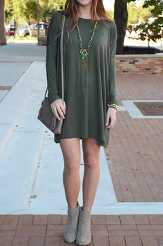 PIKO Long Sleeve Scoop Tunic in Army Green :: $29.99 :: Groovys.com :: PIKO army green Tunic, Dolman sleeve tunic, olive PIKO dress
