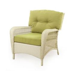 Charlottetown White All-Weather Wicker Patio Lounge Chair with Green Cushions-65-809556/1 at The Home Depot