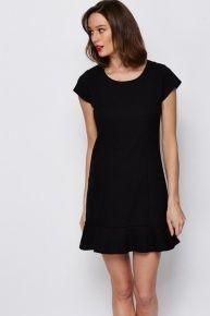 Frill Hem Black Dress