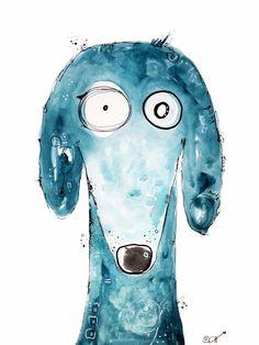 Tobi, der verrückte #Hund. #Kunst #Aquarell von Clarissa Hagenmeyer - www.clarissa-hagenmeyer.de
