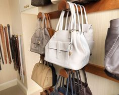 Handbags cluttering up your entryway? Here are 7 clever handbag storage solutions: Storing bags on hooks for easy access. - leather handbags online, leather purses handbags, handbags brands for women Handbag Storage, Handbag Organization, Organization Ideas, Closet Storage, Bedroom Storage, Storage Hooks, Organizar Closet, Walk In Closet Design, Storage Solutions