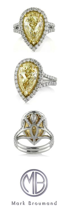 6.58ct Fancy Light Yellow Pear Shaped Diamond Engagement Ring SKU: 3775-1