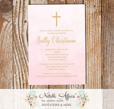 Light Pink Watercolor and Tan Gold Baptism Christening Invitation Cross - Girl Baptism invitation - First Communion or Dedication Invitation by NotableAffairs