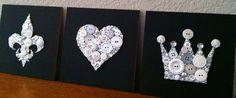 Custom Trio Button Art & Swarovski Crystal Trio by BellePapiers, $144.00