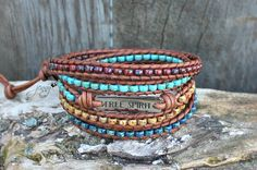 Seed Bead Leather Wrap Bracelet, Leather Wrap Bracelet, Beaded Leather Wrap Bracelet, Womens Wrap Bracelet, Picasso Beads, Womens, M1 by hodgepodgecandles on Etsy