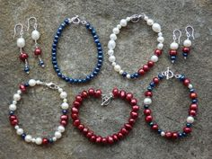 Stunning red, white & blue freshwater pearl bracelet and earrings from Lady Pearl.