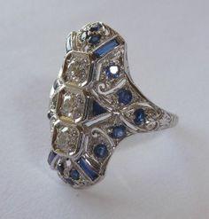 Stunning Art Deco Diamond & Sapphire Ring in Luxurious Platinum from beaconhilljewelers on Ruby Lane