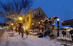 Philadelphia, Chestnut Hill. A beautiful wintery scene on Germantown Avenue