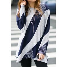 $16.05 Stylish Scoop Neck Long Sleeves Geometric Printed Irregular Hem T-Shirt For Women