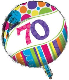 Creative Converting Bright and Bold 70th Birthday 2Sided Round Mylar Balloon *** Click image to review more details.