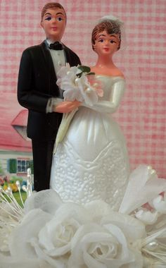 Image detail for -Vintage Style / Bride and Groom Wedding Cake Topper / Made from ...