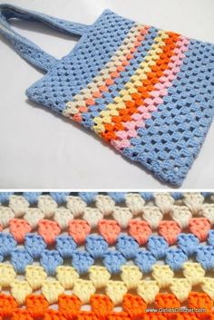 This is an easy and free Granny Tote Bag for all occasions. A great project for beginners. Crochet Simple, Crochet Diy, Crochet Tote, Crochet Purses, Crochet Crafts, Crochet Stitches, Free Crochet Bag, Crochet Crop Top, Bag Patterns To Sew