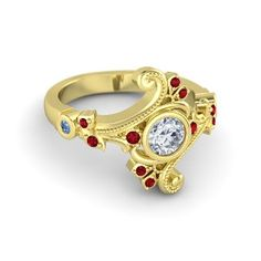 Round Diamond 14K Rose Gold Ring with Diamond - lay_down