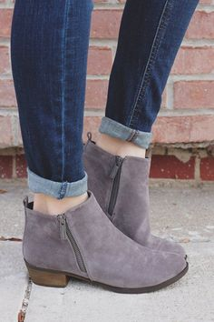 Grey Faux Suede Almond Toe Booties Austin-12 – UOIOnline.com: Women's Clothing Boutique