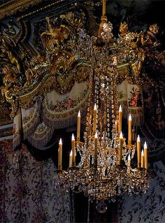 Chandelier and detail from the official bedroom of the Queen, Versailles