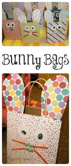 Bunny Bags are an easy Easter craft for kids to make before an Easter egg hunt! Cute for gifts, too!