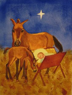 Christ Child with Donkeys Watercolor Painting 8x6 by RuthSoller