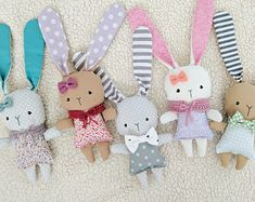 Mini Loppy Bunnies, Handmade Doll, Bunny Doll, Easter Bunny, Rag Doll, Bunny Doll, Toddler, Child, Play, Imaginative Play