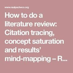 How to do a literature review: Citation tracing, concept saturation and results' mind-mapping – Raul Pacheco-Vega, PhD
