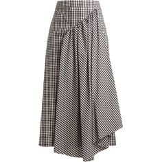 Simone Rocha Pleat-front gingham cotton midi skirt ($424) ❤ liked on Polyvore featuring skirts, black white, flared skirt, cotton midi skirt, high waisted skirt, high-waisted flared skirts and pleated midi skirt