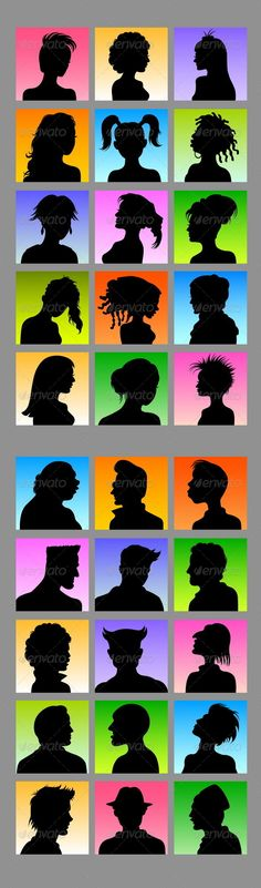Avatars  30 Female & Male Silhouettes — Photoshop PSD #handsome #human • Available here → https://graphicriver.net/item/avatars-30-female-male-silhouettes/4092013?ref=pxcr