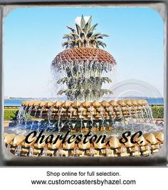 Charleston, SC. Pineapple Fountain, Marble Stone Coaster. http://yhst-128736562315201.stores.yahoo.net/charleston2.html