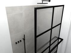 zwarte kraan en zwart douchescherm....