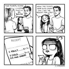 I'm 16, whenever I go to a restaurant I'm always asked if I want a kids menu, of course I say no, I mean I'm still gonna order a quesadilla, but from the adults menu like a boss....Don't go ruining my vibe. Memes Humor, Funny Jokes, Hilarious, Mom Jokes, Cute Comics, Funny Comics, C Casandra Comics, Cassandra Calin, Hilarious Stuff