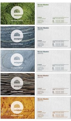 Ecopod is a luxury eco-friendly holiday retreat in the Scottish Highlands. The brand identity focused on the high quality of the experience, avoiding the clichés that go hand-in-hand with all things 'eco'. Identity Design, Visual Identity, Logo Design, Brand Identity, Corporate Identity, Cool Business Cards, Business Card Design, Stationery Design, Brochure Design