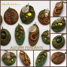 https://flic.kr/p/AzH4Ca | Fall Pendants November 2015 | A group of polymer clay pendants I created using an assortment of goodies from vintage German glass cabs and Swarovski crystal cabs to brass leaves, charms and elegant bails.