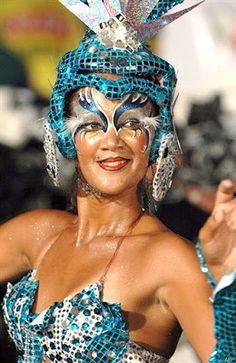 Dancer at the Llamadas Carnival Parade in Montevideo, Uruguay