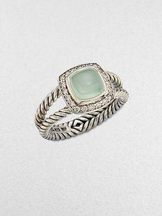David Yurman Diamond Accented Aqua Chalcedony Ring