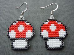 Handmade Seed Bead Super Mario Bros. 2 Mushroom by Pixelosis, $25.00