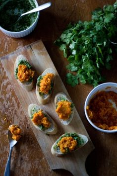 Recipe Crostini With Cilantro Pesto And Mashed Carrots by A Thought for Food Dairy free