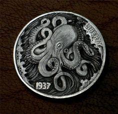 """Hobo Nickel """"Octopus's Garden"""" Octopus Coin Howard Thomas"""