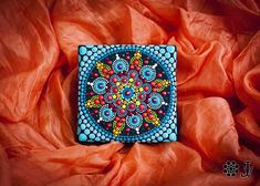 Bright and amazing work of Dotillism Art, Meditation Mandala, Hand painted Mandala with - acrylic paint on wrapped canvas 10x10cm (4x4 inch) with crystals. The canvas is ready to hang, just waiting to be on your wall and part of your home or office decor. Great as a gift for