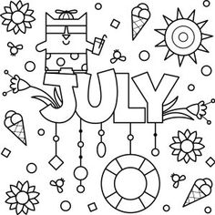 Cheery June Coloring Page Printable - Thrifty Mommas Tips Summer Coloring Pages, Colouring Pages, Coloring Sheets, Coloring Pages For Kids, Free Coloring, Coloring Books, Kids Coloring, Color Tag, Month Colors