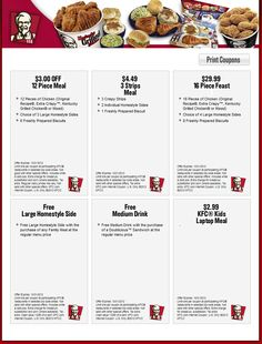 KFC is now offering monthly coupons that we are excited to provide for you. There are 6 August 2012 coupons that they have distributed. All six of these coupons expire on August Below is a list of the six coupons and the details for each. Kfc Coupons, Pizza Coupons, Online Coupons, Print Coupons, Discount Coupons, Grocery Coupons, Digital Coupons, Free Printable Coupons, Free Printables
