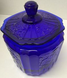 Vintage Cobalt Blue Biscuit or Cookie Jar - Depression Glass w/ a Floral Pattern