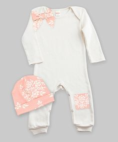 Another great find on #zulily! Ivory & Bella Brocade Bow Playsuit & Beanie - Infant by Truffles Ruffles #zulilyfinds