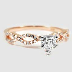 14K  Rose Gold Infinity Diamond Ring - Set with a 0.40 Carat, Heart, Very Good Cut, F Color, VS1 Clarity Diamond #BrilliantEarth