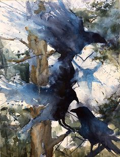 White Pine Ravens by Sarah Yeoman Watercolor ~ x