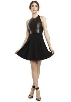 DANIE OPEN BACK DRESS in BLACK by Alice + Olivia