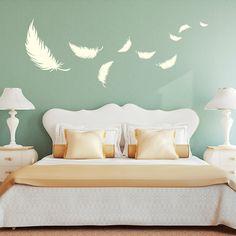 Wandtattoo - Wandtattoo Deko Federn Schlafzimmer Feder 55x144cm - ein Designerstück von wandtattoo-loft bei DaWanda