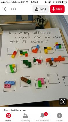 this is inspo for a fraction exercise - use math cubes to represent fractions- example: make figure thats green - butchart gardens Maths Eyfs, Math Classroom, Kindergarten Math, Teaching Math, Preschool Activities, Numeracy, Subitizing, Numicon, Preschool Centers
