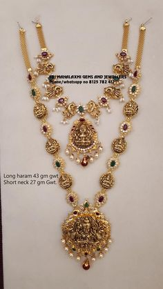 37 gm Net Gold Haram and 22 gm Net Gold Very light wt harams and necklaces Visit for best prices. Contact no 8125 782 11 September 2019 Gold Necklace Simple, Gold Jewelry Simple, Gold Wedding Jewelry, Light Weight Gold Jewellery, Gold Necklaces, Bridal Jewellery, Gold Earrings Designs, Gold Jewellery Design, Gold Haram Designs