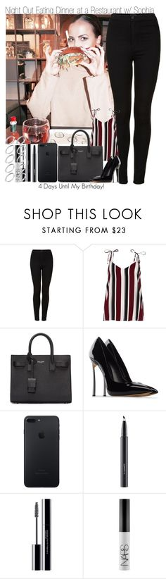 """""""4 Days Until My Birthday- Night Out Eating Dinner at a Restaurant with Sophia"""" by elise-22 ❤ liked on Polyvore featuring Topshop, River Island, Yves Saint Laurent, Casadei, MAC Cosmetics, shu uemura, NARS Cosmetics, ASOS, NightOut and Night"""