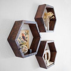 Diy Plans For Hexagon Shelves Hexagon Wall Shelf Hexagon 123 Best Hexagon Shelves Images Hex. Wall Shelf Decor, Wall Shelves, Diy Wall, Wall Bookshelves, Hexagon Wall Shelf, Honeycomb Shelves, Wooden Crosses, Living Room Shelves, Floating Shelves Diy