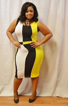 New Plus Size Yellow, White, Black Body Con Dress 1X 2X 3X 39.00